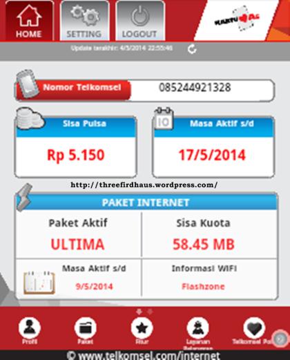 Tampilan Home di aplikasi My Telkomsel