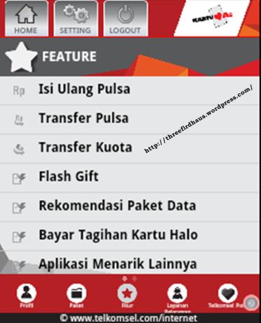 Tampilan Item Menu Feature dan fitur-fitur yang ada di dalam aplikasi my telkomsel